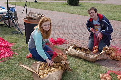 Students bagging potatoes for the Potato Drop