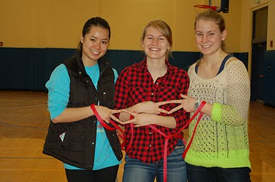 Student volunteers come-out to help tie bags